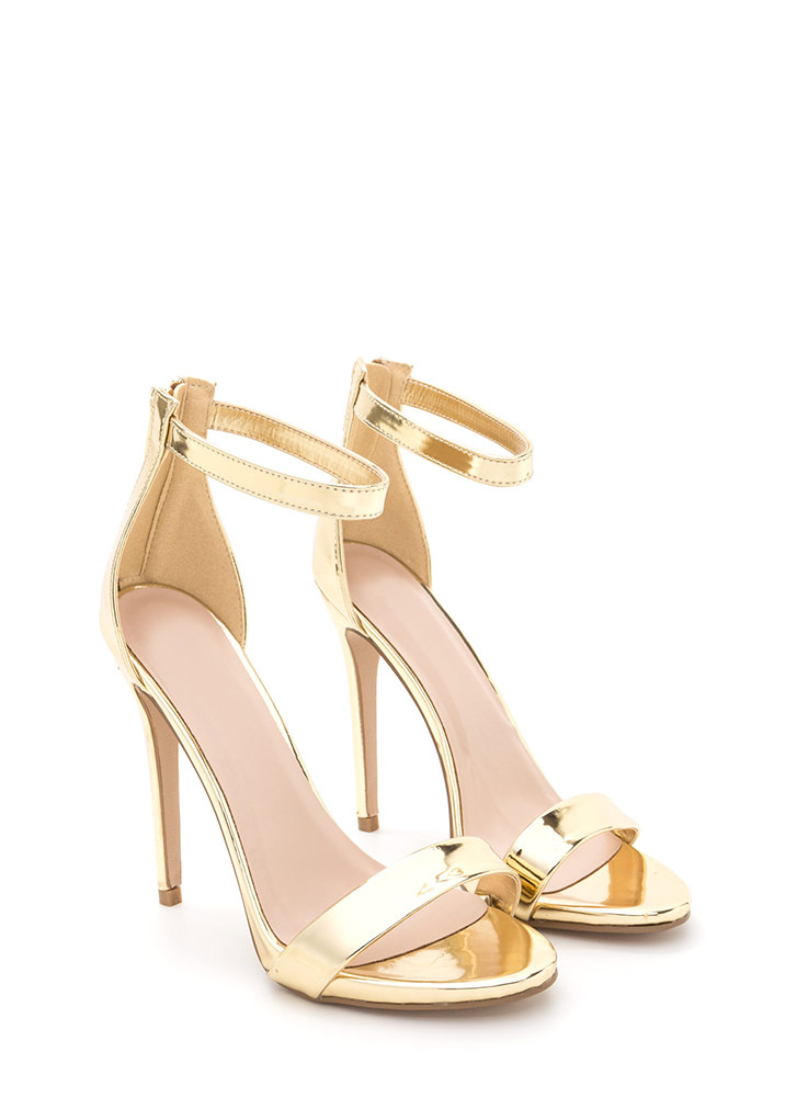Perfect Ten Strappy Metallic Heels GOLD