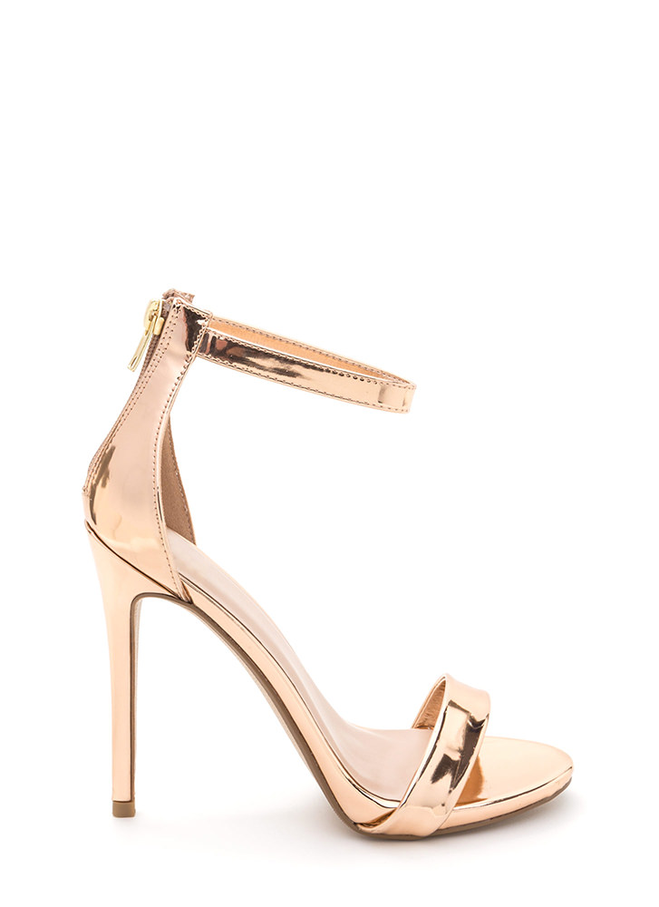 Perfect Ten Strappy Metallic Heels ROSEGOLD
