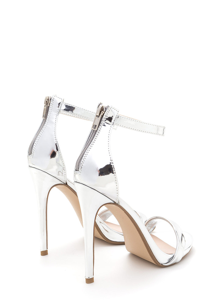 Perfect Ten Strappy Metallic Heels SILVER