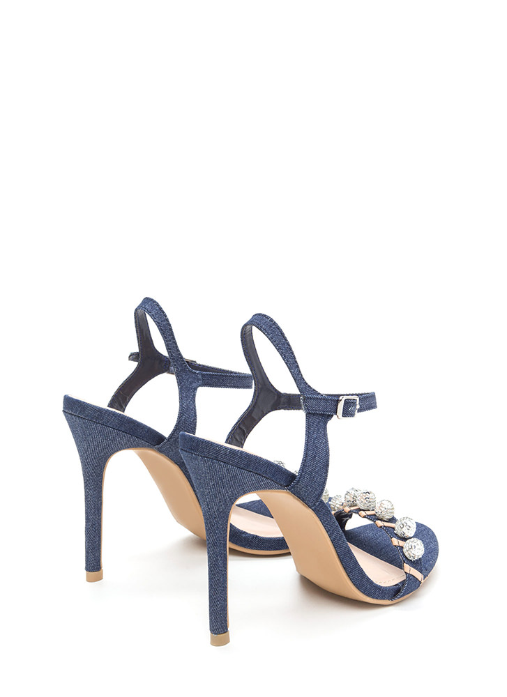 Disco Baby Strappy Denim Heels BLUE