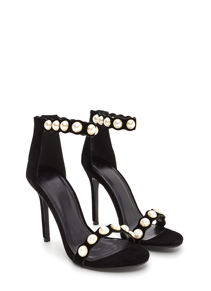 Catch A Wave Strappy Faux Pearl Heels BLACK