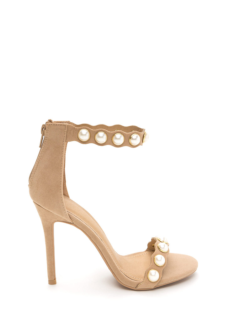 Catch A Wave Strappy Faux Pearl Heels NUDE