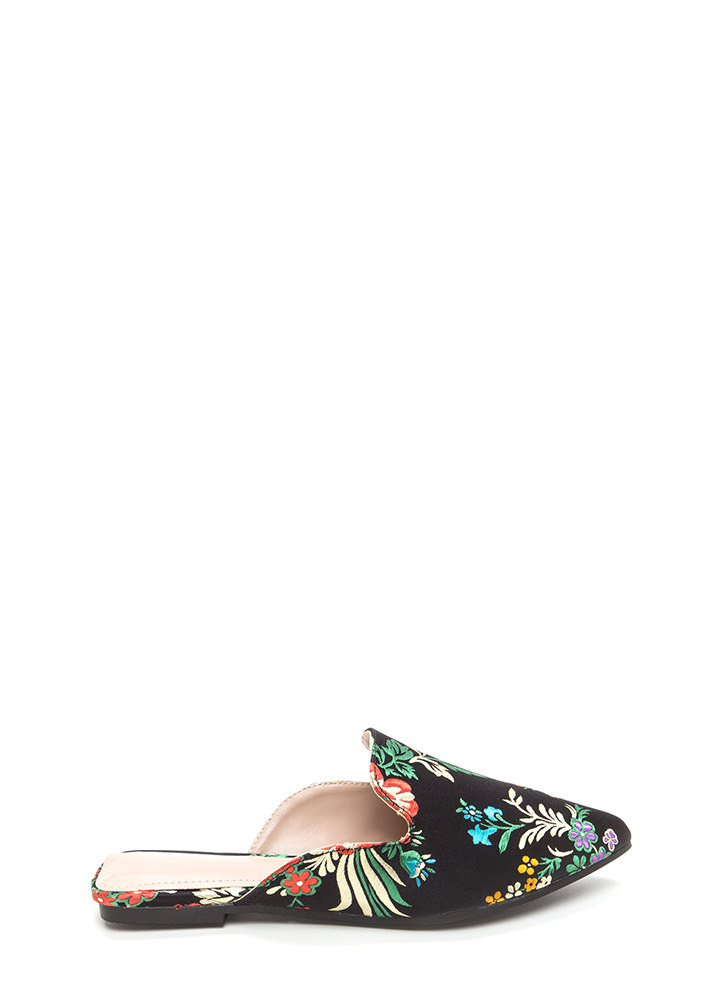 Floral Energy Pointy Satin Mule Flats BLACK