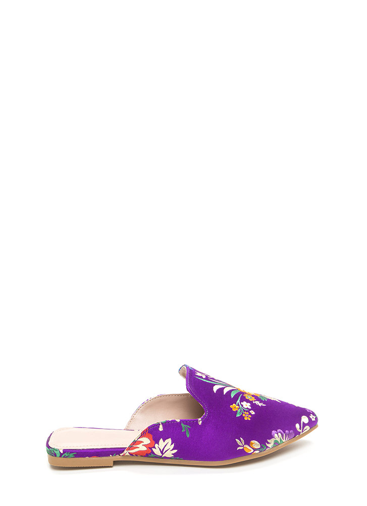 Floral Energy Pointy Satin Mule Flats PURPLE