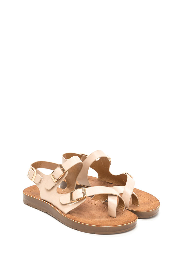 Triple Up Buckled Faux Leather Sandals BEIGE