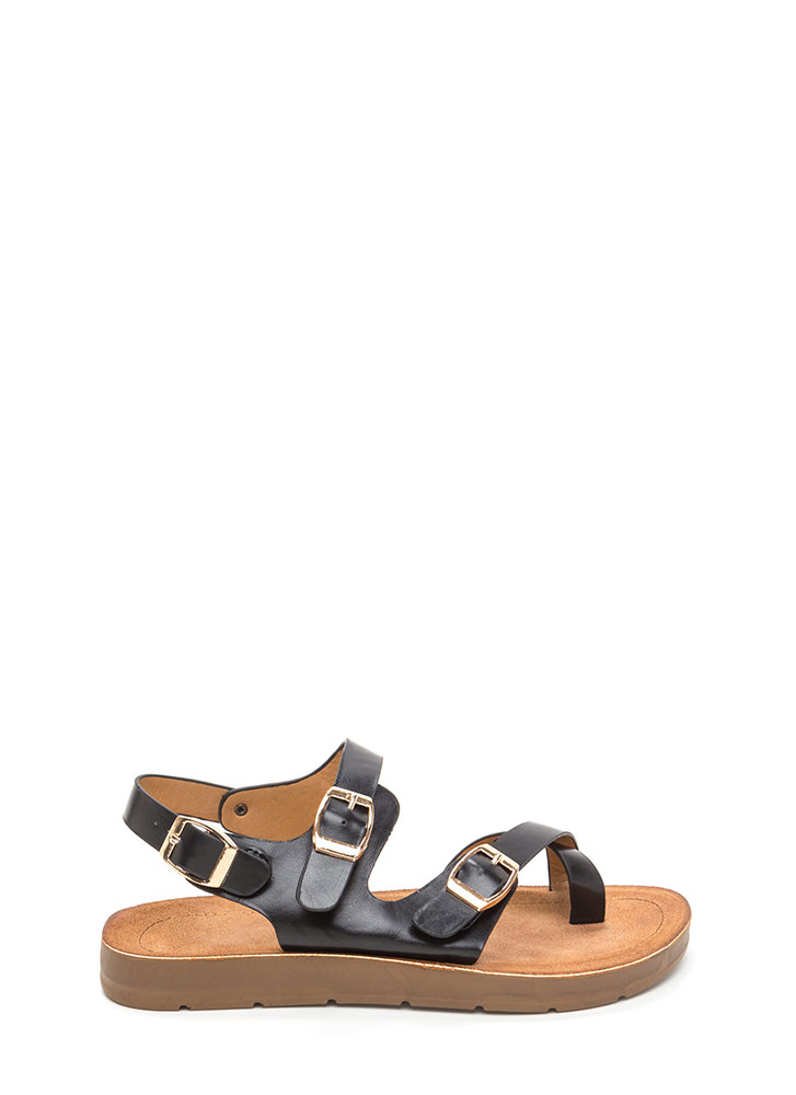 Triple Up Buckled Faux Leather Sandals BLACK