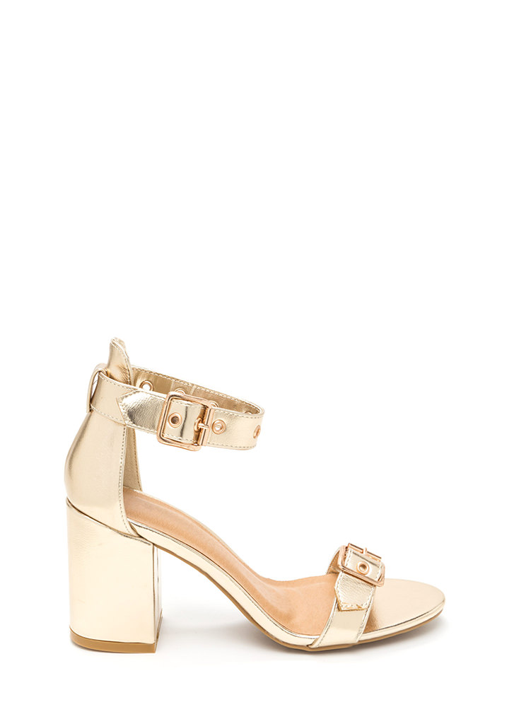 Hole In One Strappy Metallic Heels GOLD