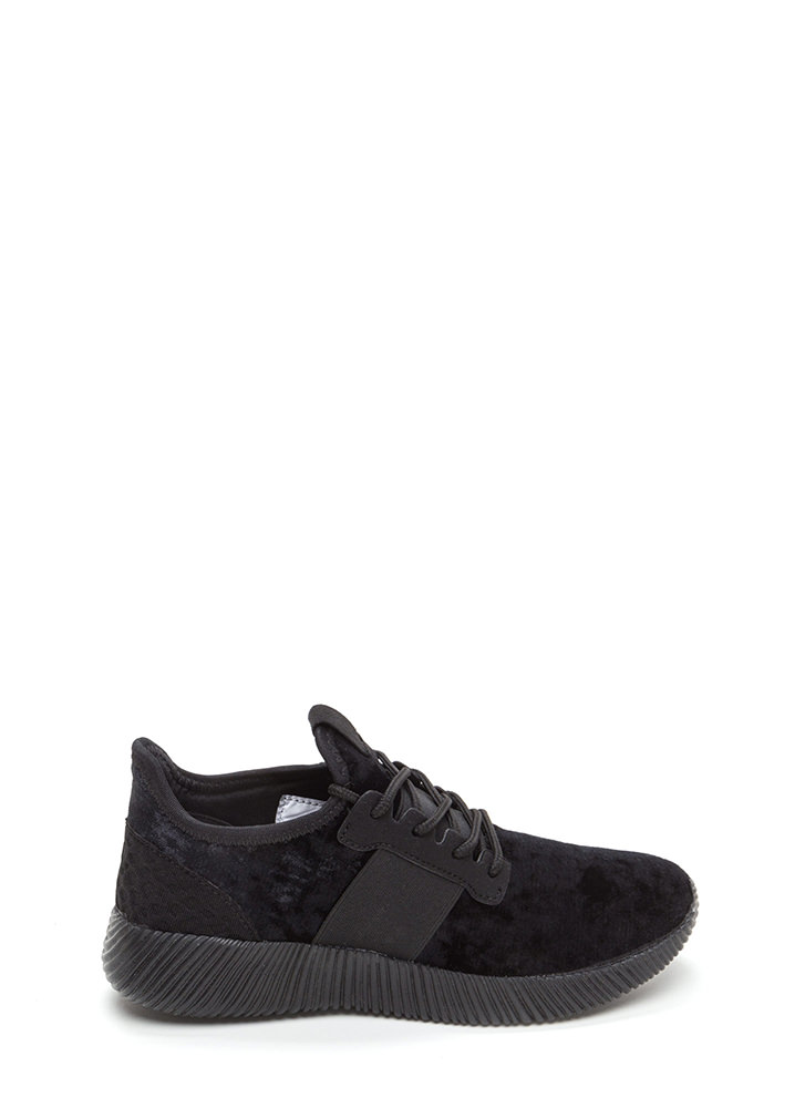 Serious Crush Velvet Lace-Up Sneakers BLACK