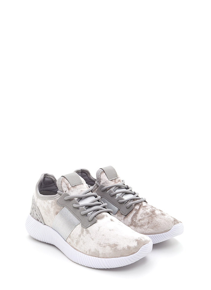Serious Crush Velvet Lace-Up Sneakers GREY