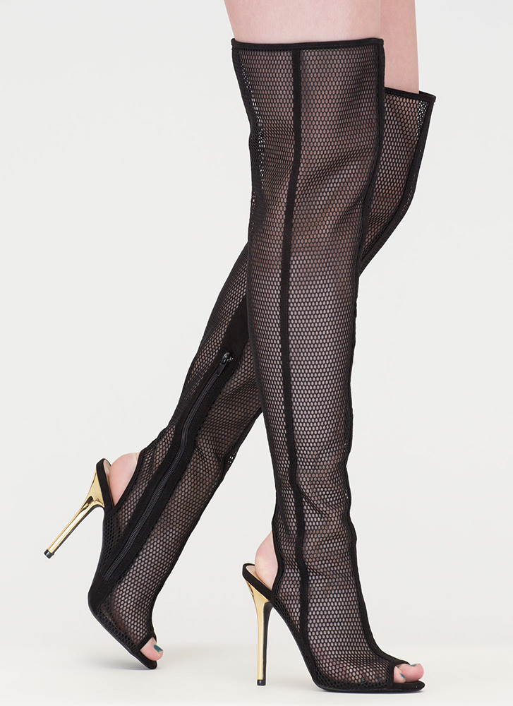 Nothing But Net Shiny Thigh-High Boots BLACK