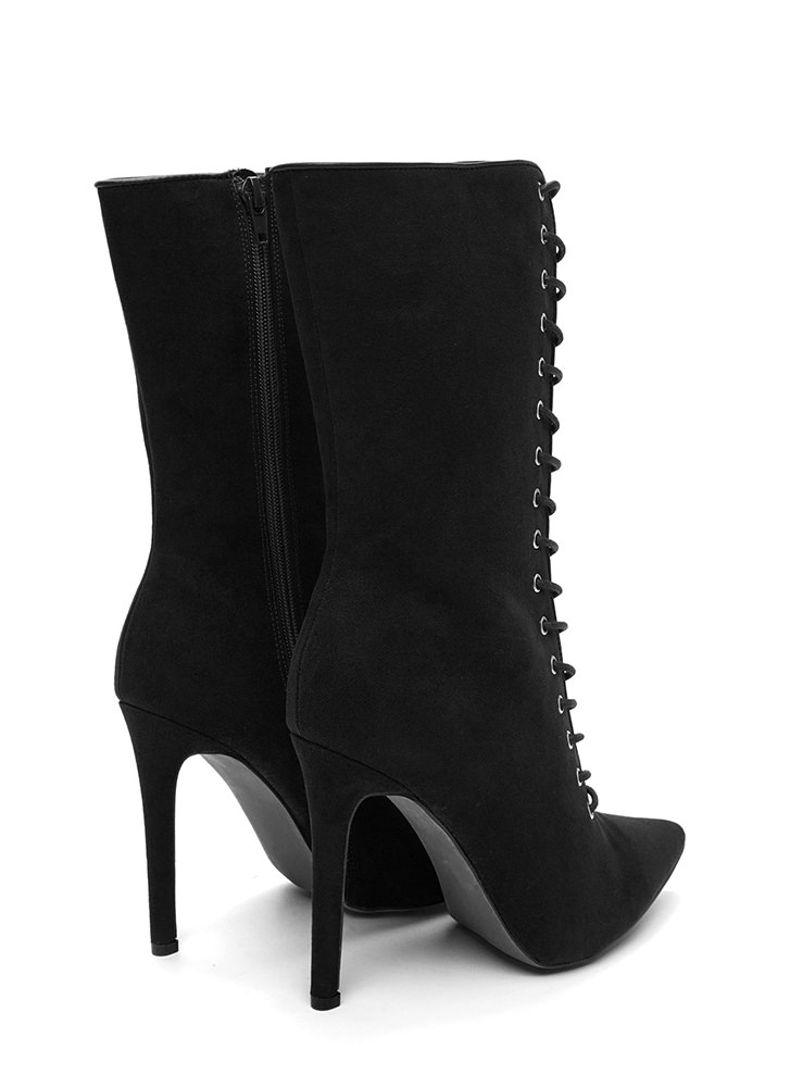 See Your Point Faux Suede Boots BLACK