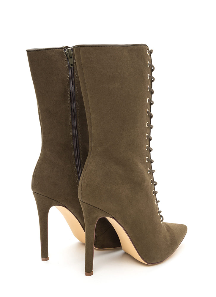 See Your Point Faux Suede Boots OLIVE