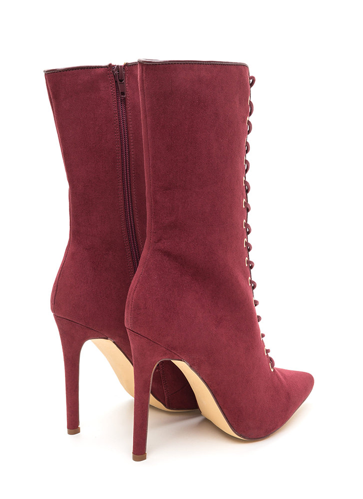 See Your Point Faux Suede Boots WINE