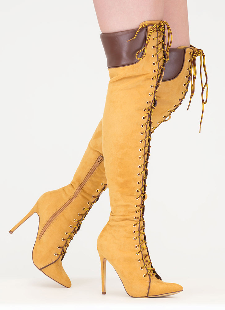 Statement Strut Lace-Up Thigh-High Boots CAMEL