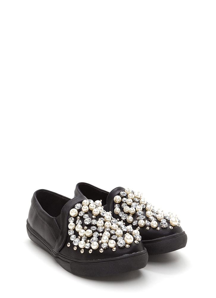 Treasure Chest Faux Leather Sneakers BLACK