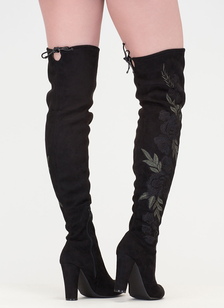 Rosy View Chunky Thigh-High Boots  BLACK