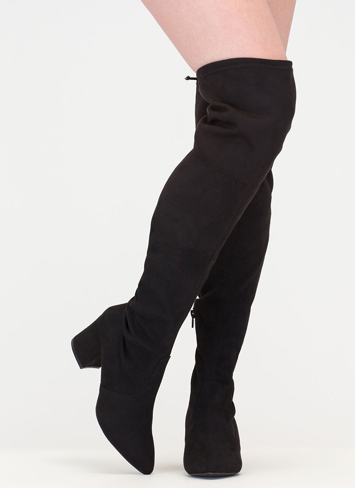 Around The Block Pointy Thigh-High Boots BLACK