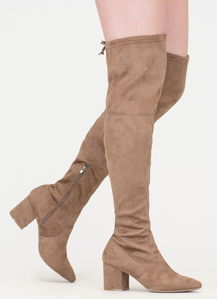 Around The Block Pointy Thigh-High Boots TAUPE