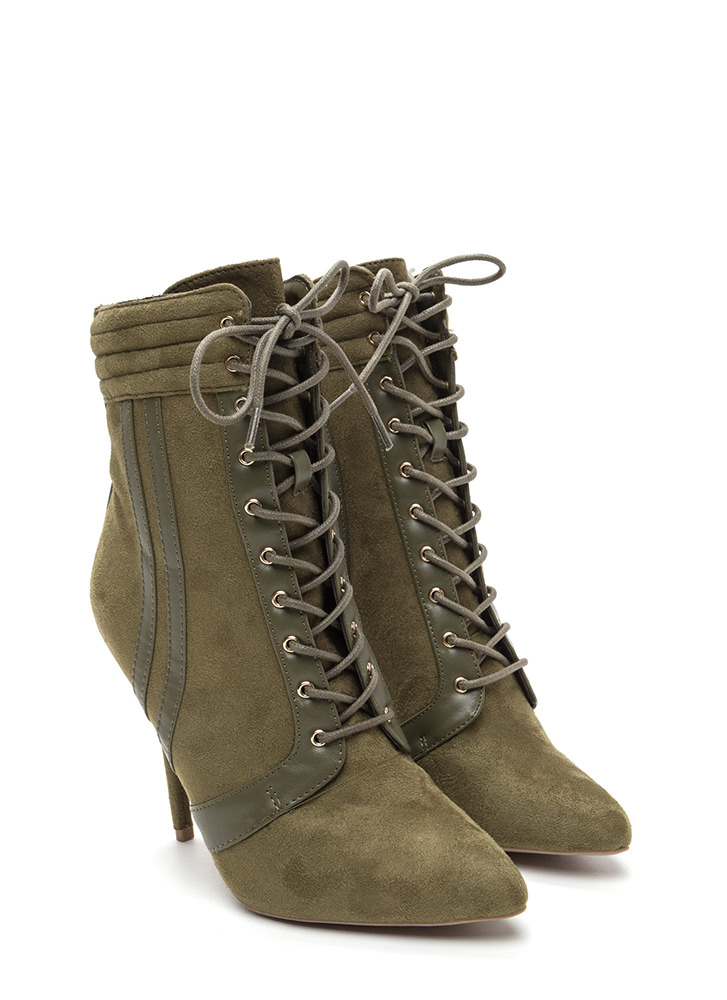 Catwalk Strut Pointy Mixed Media Booties OLIVE