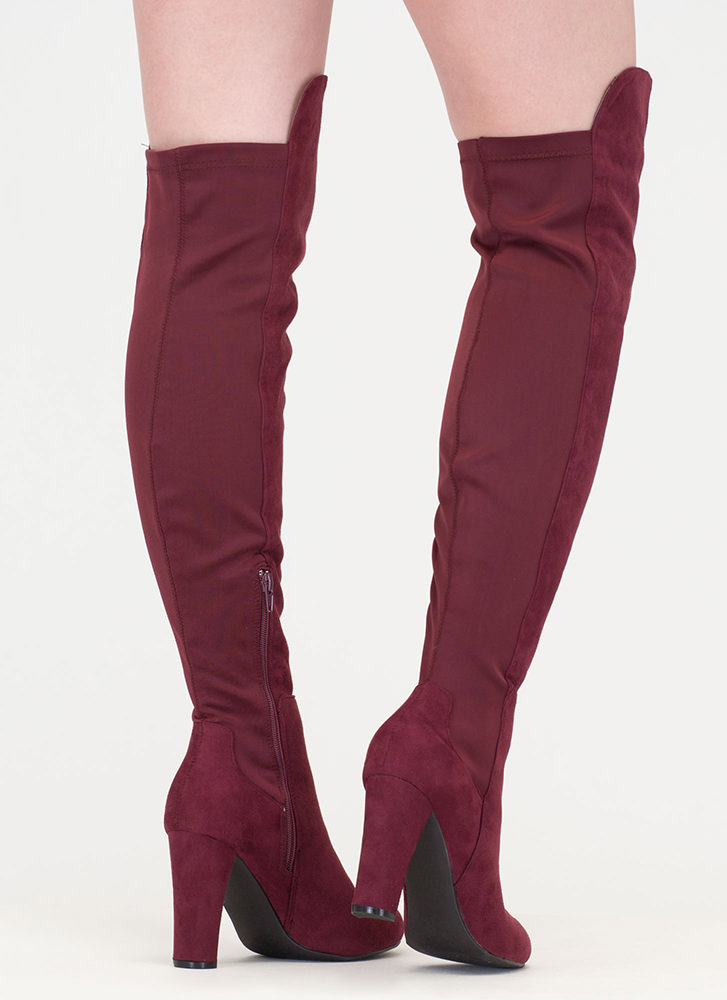 Impeccable Style Chunky Thigh-High Boots BURGUNDY