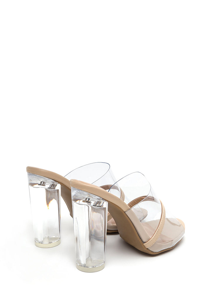Clearly Perfect Chunky Mule Heels CLEAR