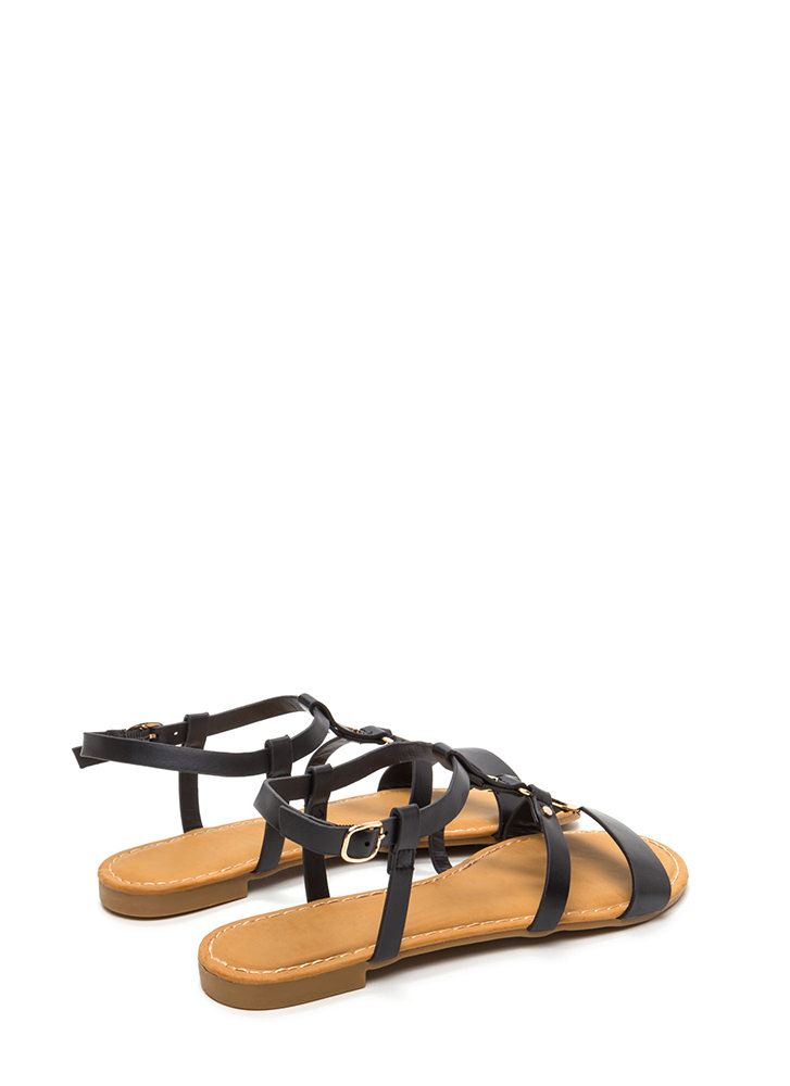 Circle Of Friends Faux Leather Sandals BLACK