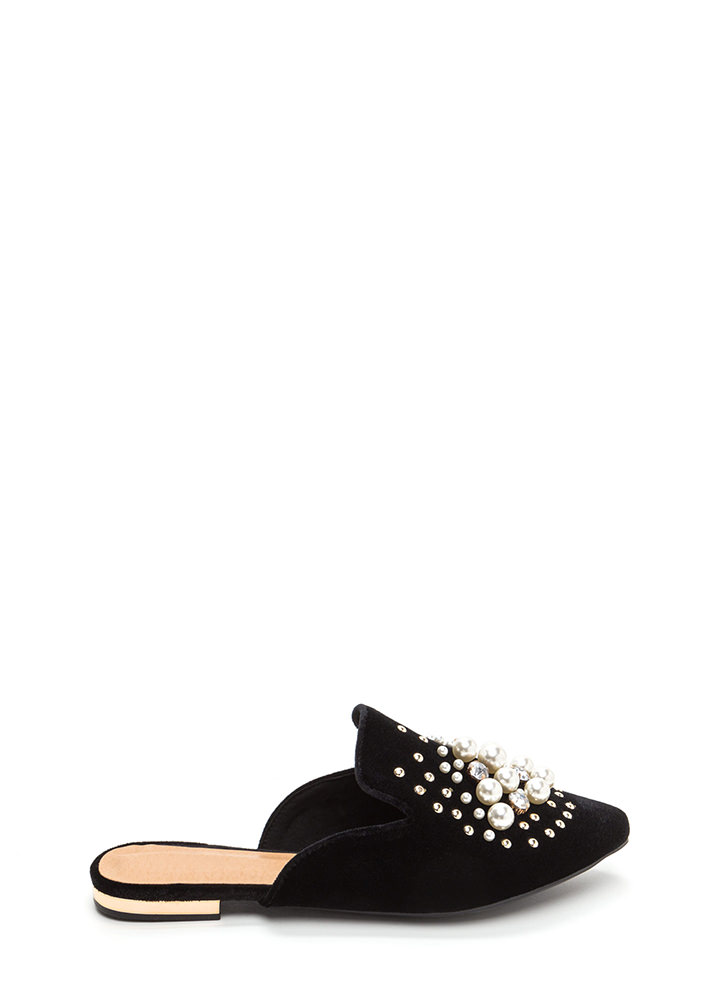 Life Of Luxury Jeweled Velvet Mule Flats BLACK
