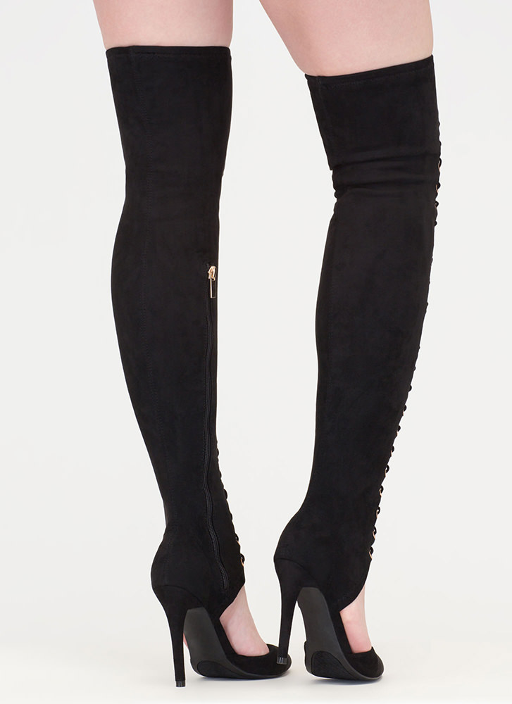 Chic Mastermind Laced Thigh-High Boots BLACK