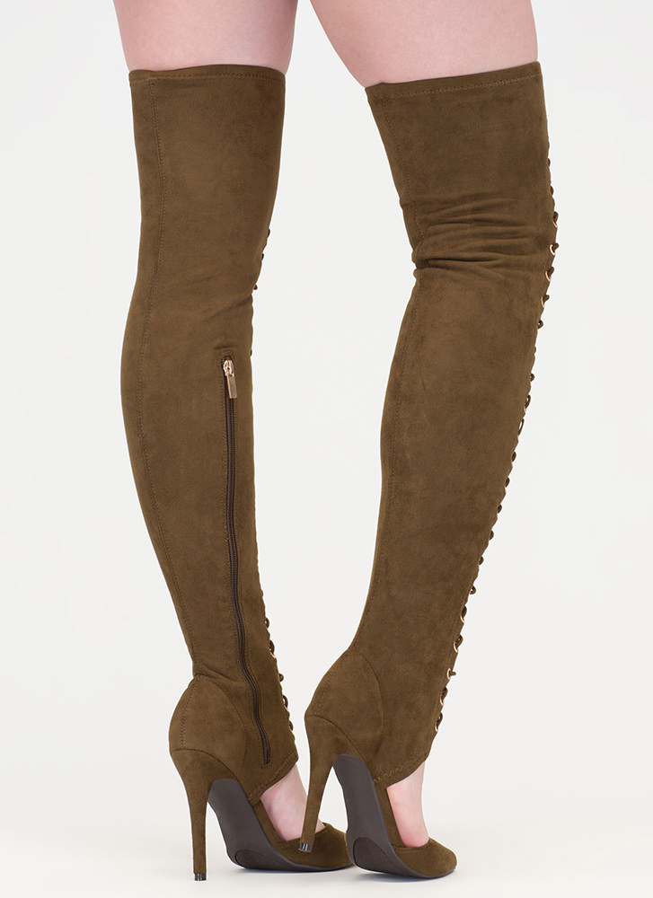 Chic Mastermind Laced Thigh-High Boots OLIVE