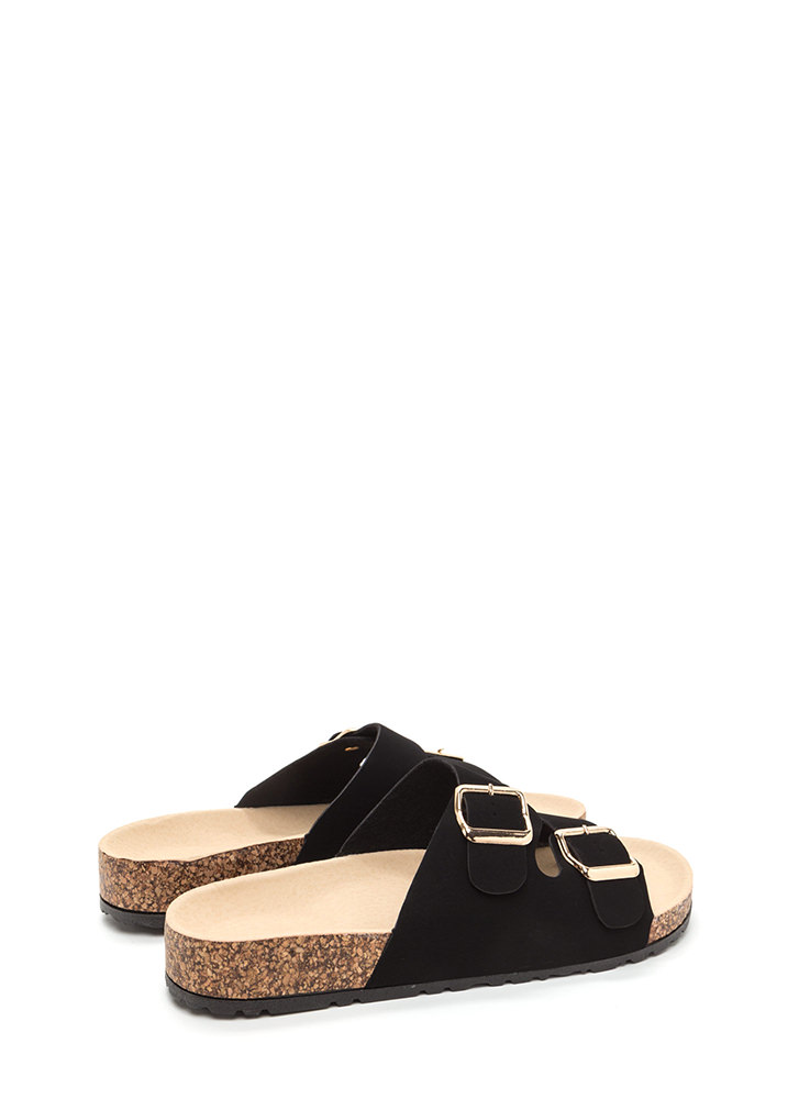 Buckled Up Faux Nubuck Slide Sandals BLACK