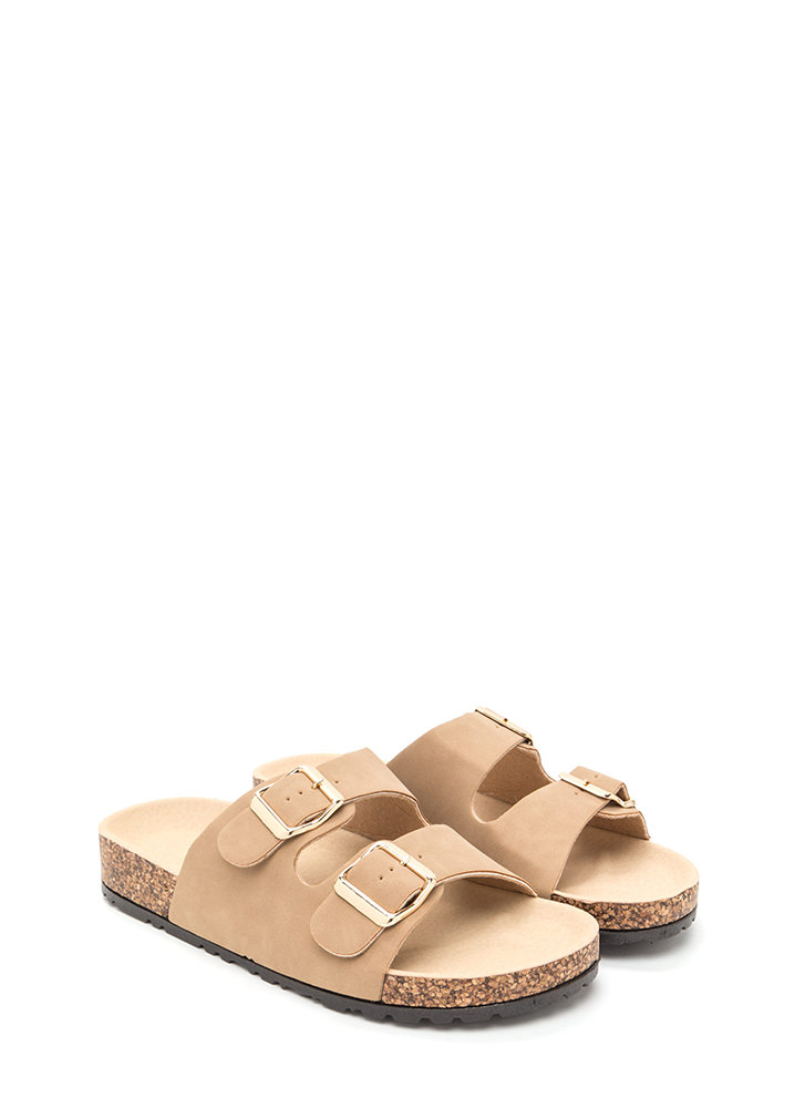 Buckled Up Faux Nubuck Slide Sandals NATURAL