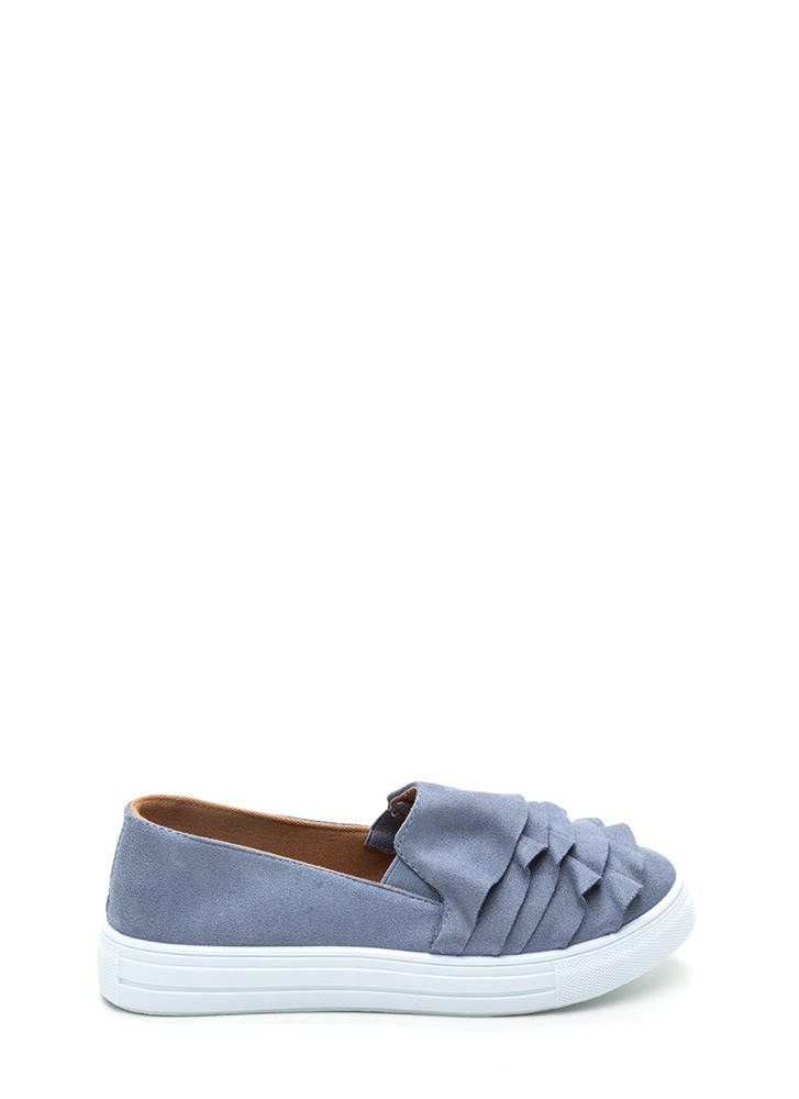 Ruffled Drama Faux Suede Sneakers BLUE