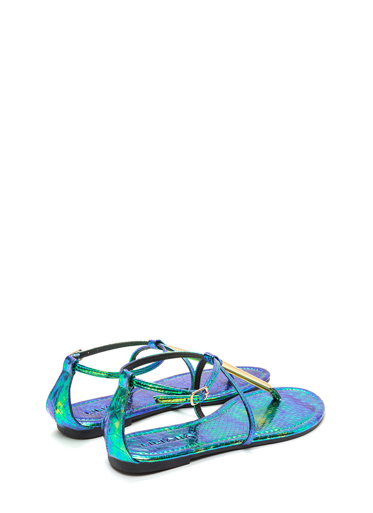 Chic Choice Snakeskin T-Strap Sandals GREEN