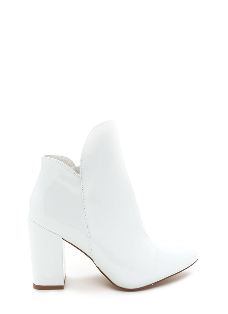 Smooth Transition Pointy Chunky Booties WHITE