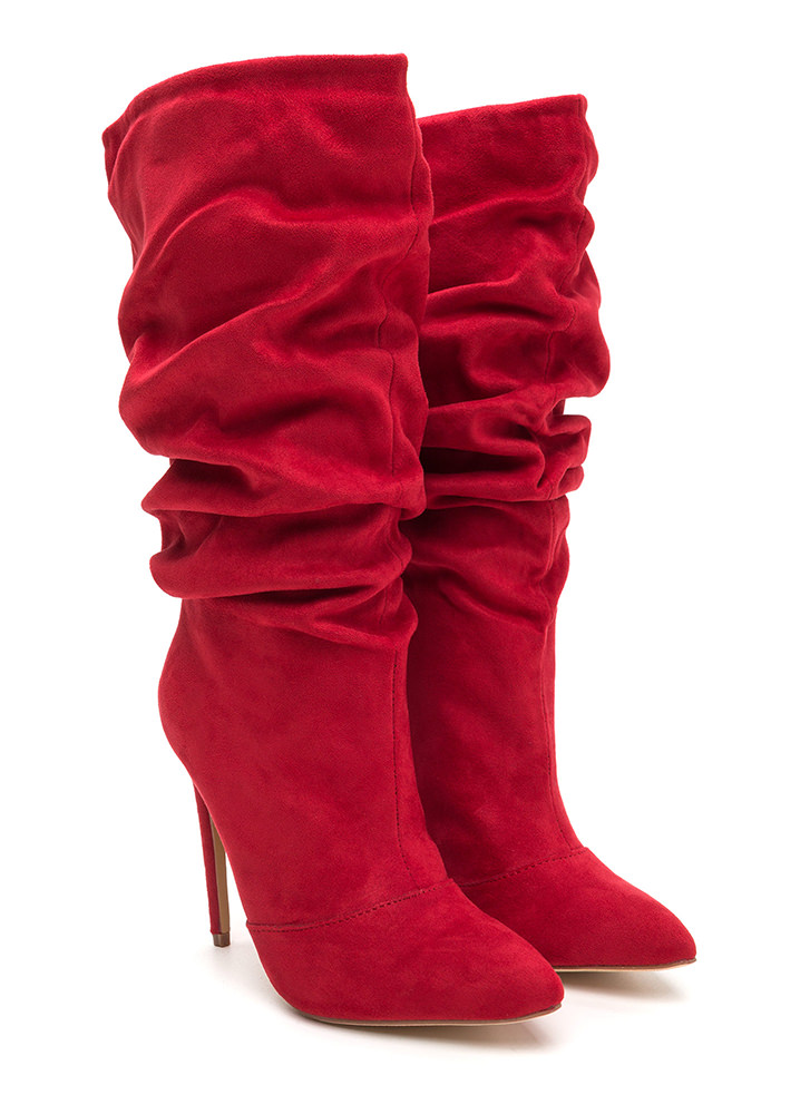 All About The Slouch Faux Suede Boots RED