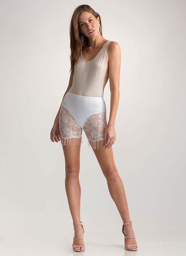 In The Right Lace Fringed Shorts IVORY