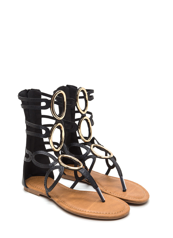 All Oval It Caged Gladiator Sandals BLACK