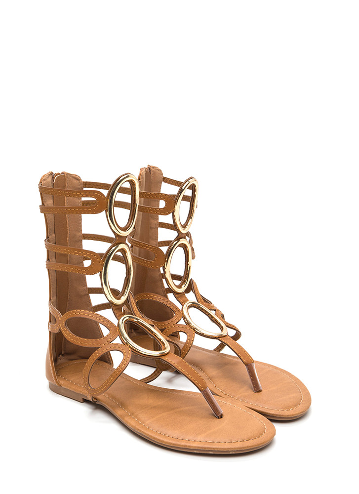 All Oval It Caged Gladiator Sandals TAN