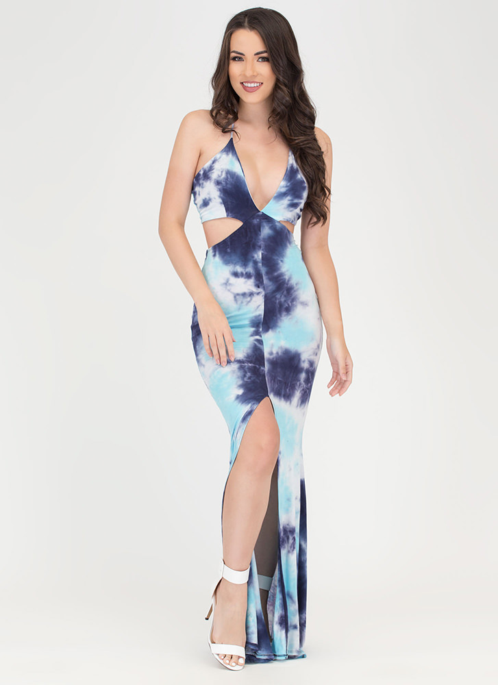 Tongue Tie-Dyed Cut-Out Maxi Dress NAVYBLUE