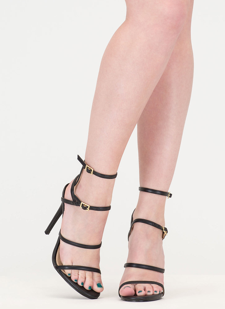 Strappy Stunner Faux Leather Heels BLACK