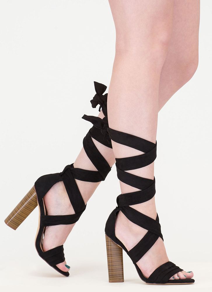 Chic Muse Tied Gladiator Sandals BLACK