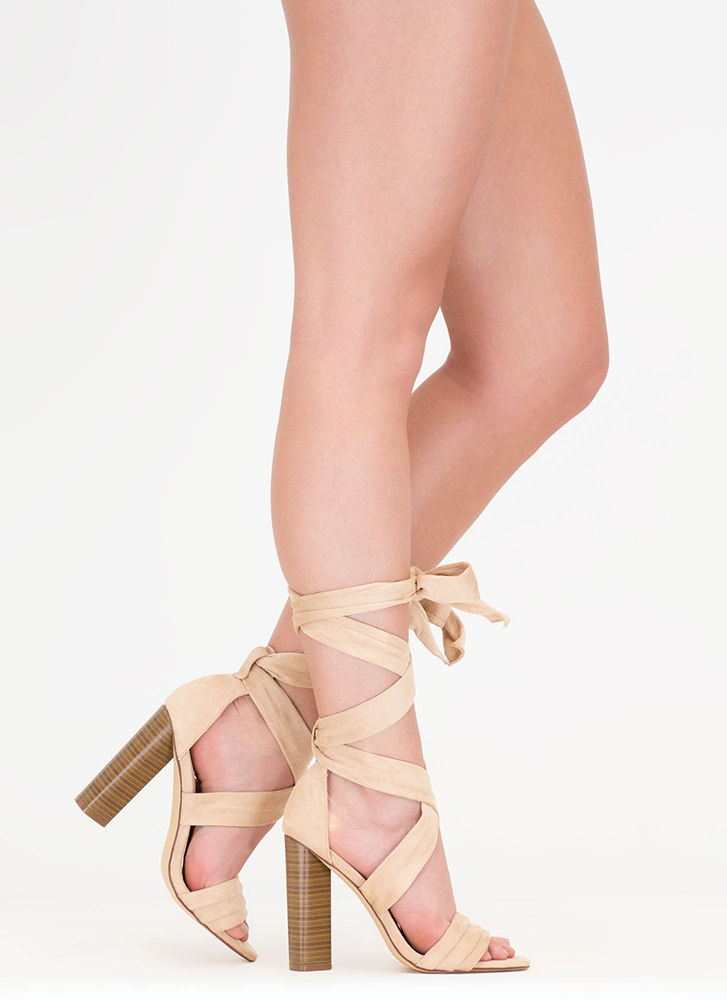 Chic Muse Tied Gladiator Sandals NUDE