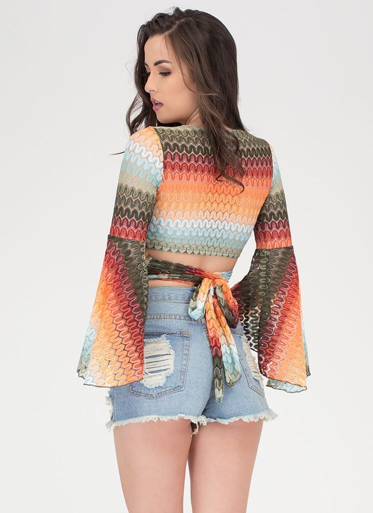 Seventies Classic Knit Wrap Crop Top OLIVEMULTI