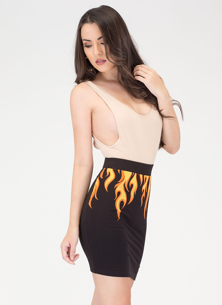 Flaming Haute Knit Skirt BLACK