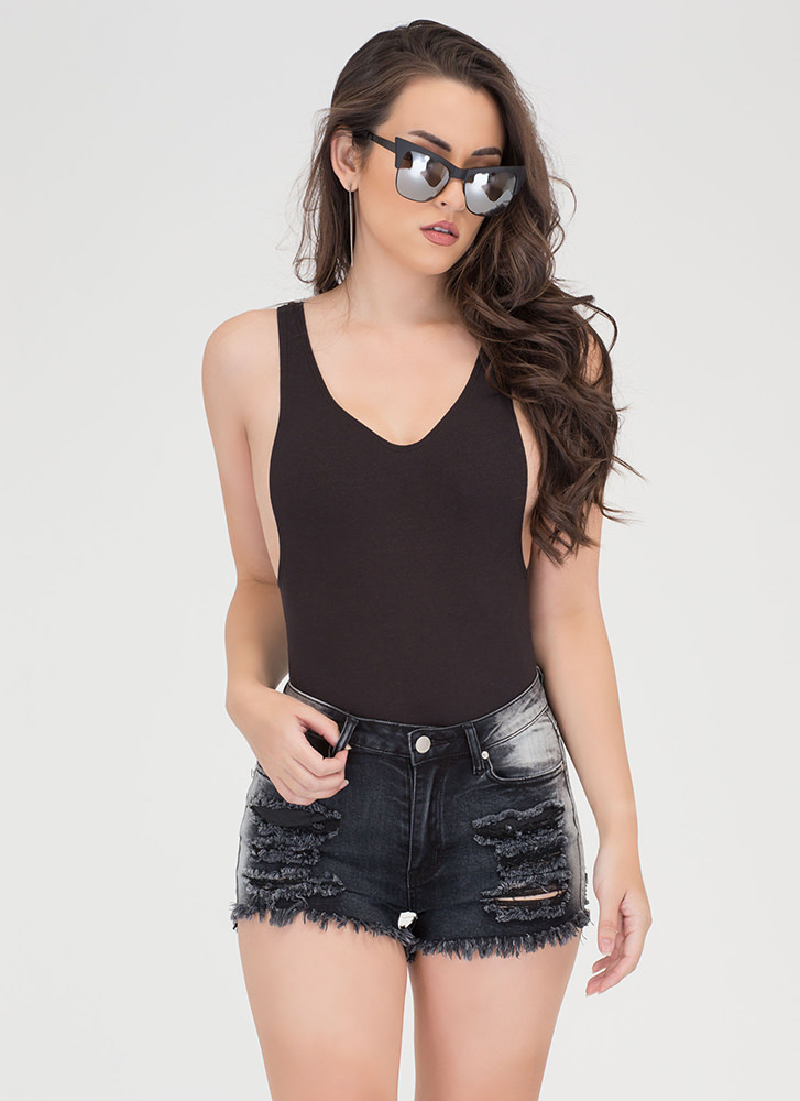 Double Scoop Deep-Cut Bodysuit BLACK