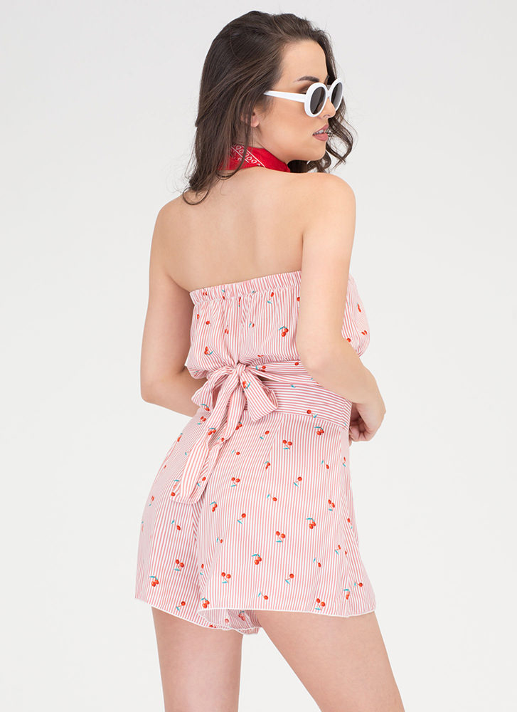 Cherry Picking Striped Two-Piece Romper CORAL