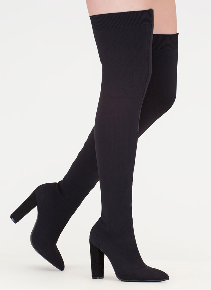 Knit's Gonna Be Me Thigh-High Boots BLACK