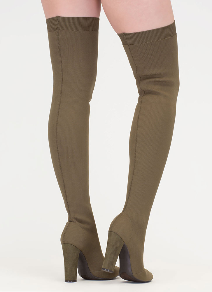 Knit's Gonna Be Me Thigh-High Boots OLIVE