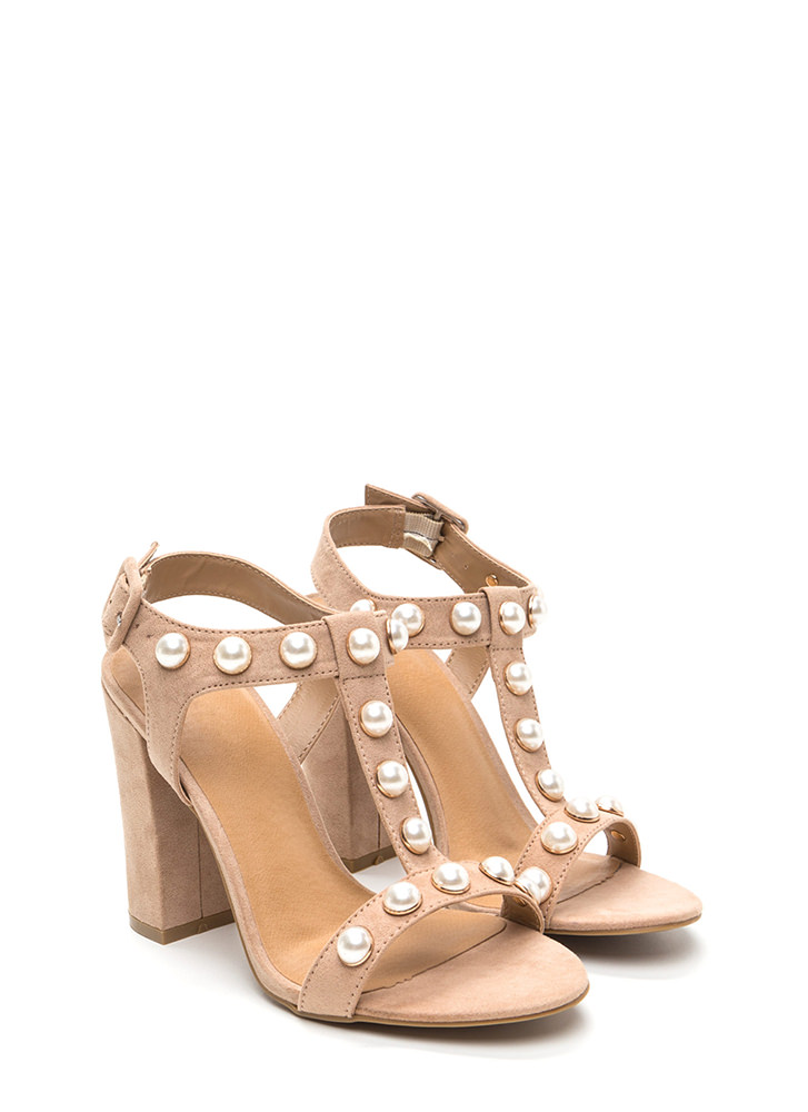 Pearl Power Strappy Faux Suede Heels NUDE