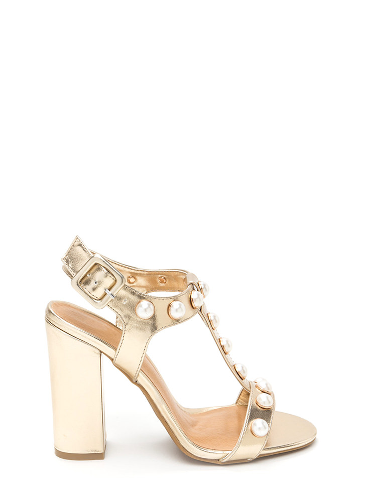 Pearl Power Strappy Metallic Heels GOLD